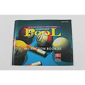 Manual - Championship Pool - Rare Nes Nintendo