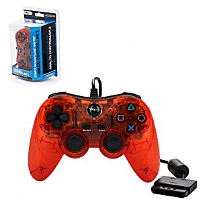 PS2 New CLEAR RED Wired Controller